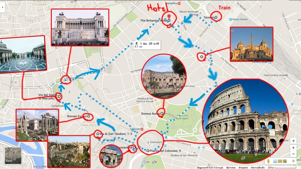 แผนที่ท่องเที่ยวโรม